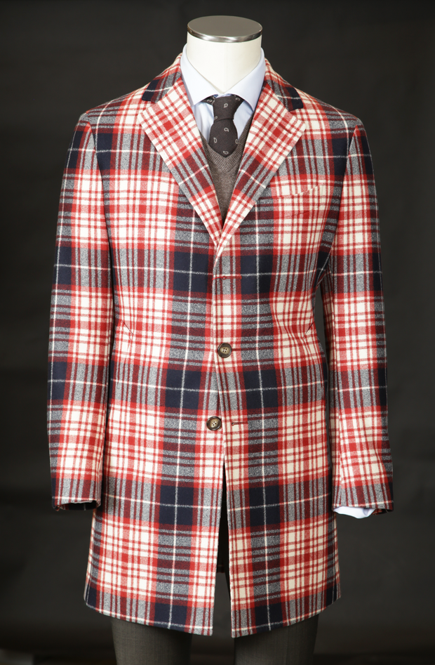 Men's Wool Overcoat in Red Tartan