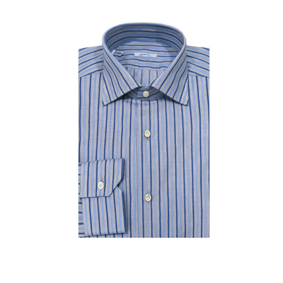 Mattabisch Cotton Shirt (Blue & Gray Stripes)