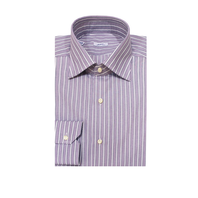 Mattabisch Cotton Shirt (Purple & Gray Stripes)