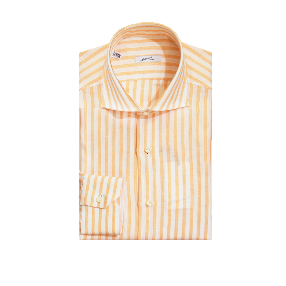 Mattabisch Linen Shirt by Kiton (Yellow-Orange)