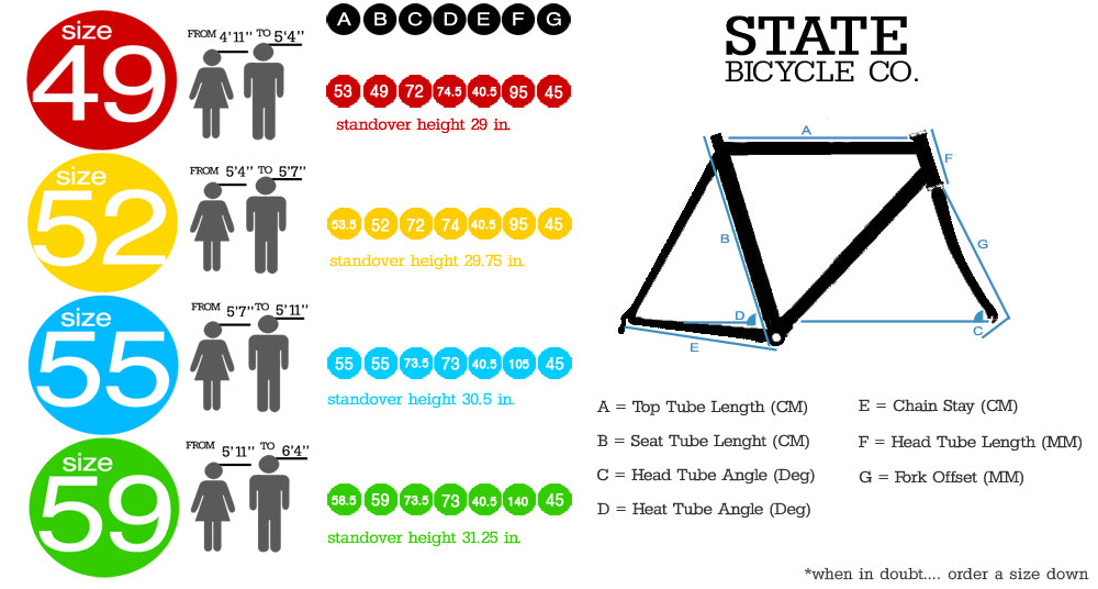 Bike Size Guide - Fixie / Single Speed Bikes – Fixed Gear Frenzy