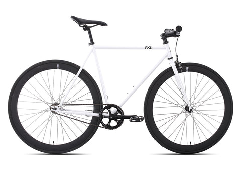 6KU Evian 2 Gloss White/Black Single Speed Bike