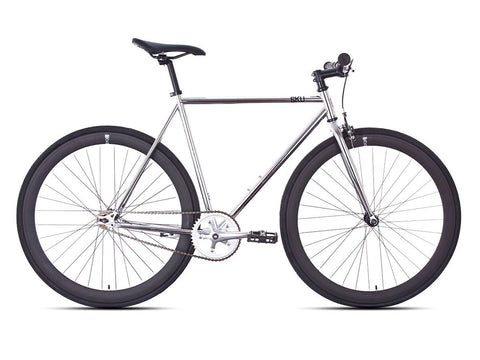 6KU Detroit Bike Silver/Black Single Speed Bike