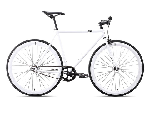 6KU Evian 1 Gloss White/White Single Speed Bike