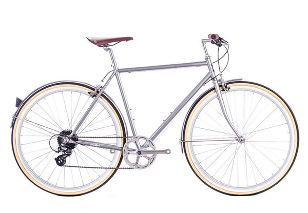 6KU Odyssey 8spd City Bike - Brandford Silver