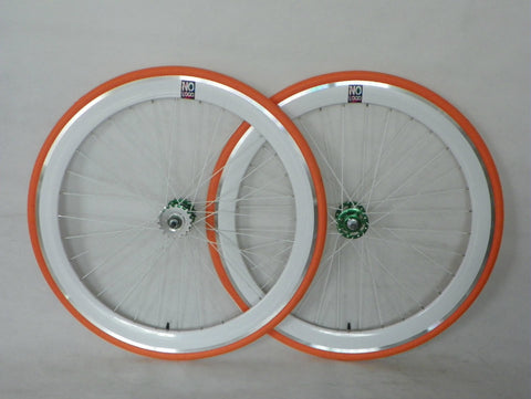 No Logo 50mm 700c White Orange Track/Fixie Deep V Wheelset - Flip Flop Hubs