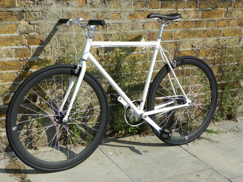 White/Black Single Speed Fixed Gear Track Bike - 56cm Frame