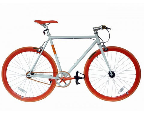 Nolobi 2014 White/Orange Single Speed Fixed Gear Track Bike - 59cm Frame
