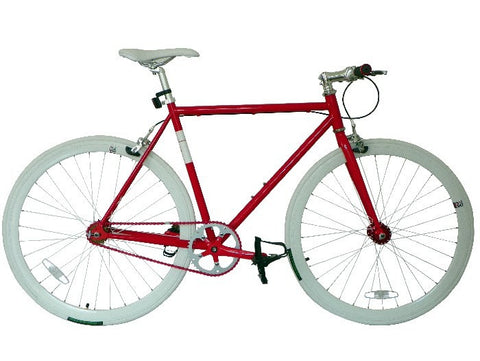 Nolobi 2014 Red/White Single Speed Bike Fixie/Fixed Gear Track Bike - 56cm Frame