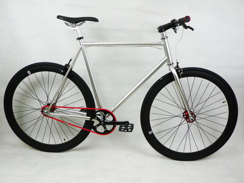 Silver/Black Single Speed Fixed Gear Track Bike - 59cm Frame