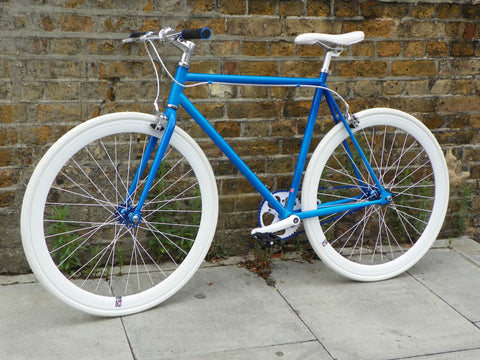 Blue/White Single Speed Fixed Gear Track Bike - 56cm Frame