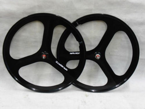 3 Spoke Black Aero Wheelset 700c Alloy