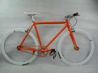 Orange/White Single Speed Fixed Gear Track Bike - 56cm Frame