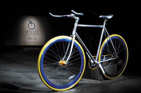 Pitango Silver/Blue Fixed Gear Single Speed Fixie Bike - 58cm Frame