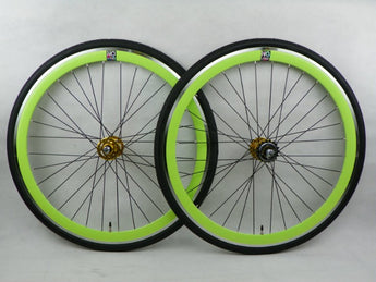 No Logo Green/Black 40mm Fixie Wheelset - Flip Flop Hubs Includes Tyres & Tubes SOME SRATCHES