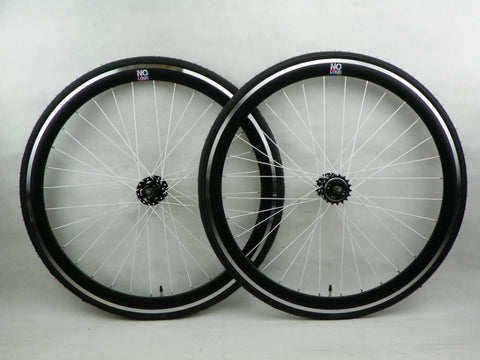 No Logo Black/White Spokes 40mm Fixie Wheelset - Flip Flop Hubs Includes Tyres & Tubes