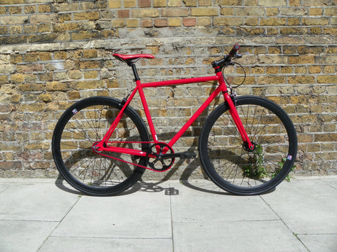 Red Black Single Speed Bike Fixie/Fixed Gear Track Bike - 56cm Frame