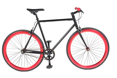 Vilano Rampage Fixed Gear Fixie Single Speed Road Bike(Black/Red, 58cm)