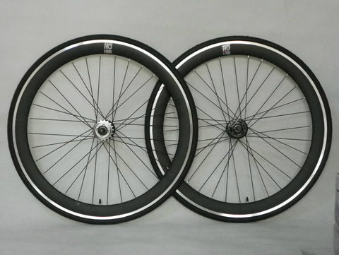 No Logo 40mm 700c ALL Black Track/Fixie Deep V Wheelset Tyres & Tubes