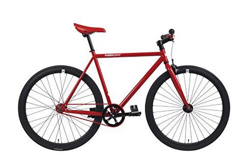 FabricBike-Fixie Bike, Fixed Gear Bike, Single Speed, Hi-Ten Steel Red Frame, 10Kg