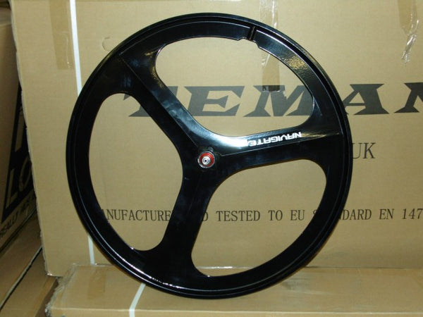 3 Spoke Black Aero Wheel 700c Front