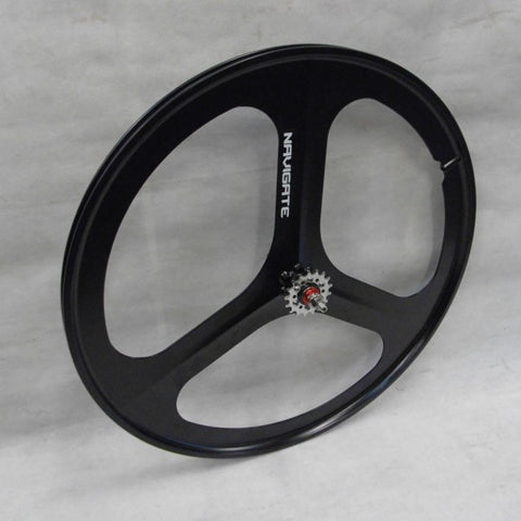 3 Spoke Black Aero Wheel 700c Rear