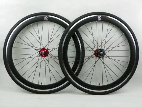 No Logo All Black/Red Hubs Spokes 50mm Fixie Wheelset - Flip Flop Hubs Includes Tyres & Tubes