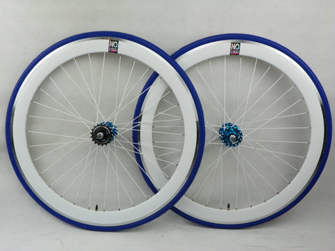 No Logo 40mm 700c White/Blue Track/Fixie Deep V Wheelset - BLUE HUBS Tyres & Tubes