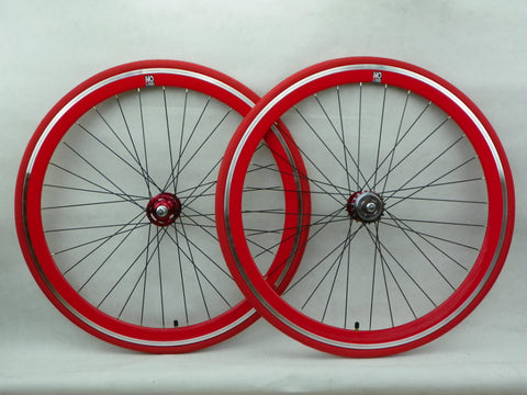 No Logo Red 50mm Track/Fixie Deep V 700c Wheelset (Front & Rear) Machined - Flip Flop Hubs
