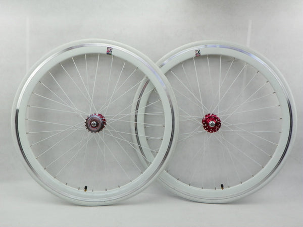 No Logo 40mm 700c WhiteTrack/Fixie Deep V Wheelset Tyres & Tubes