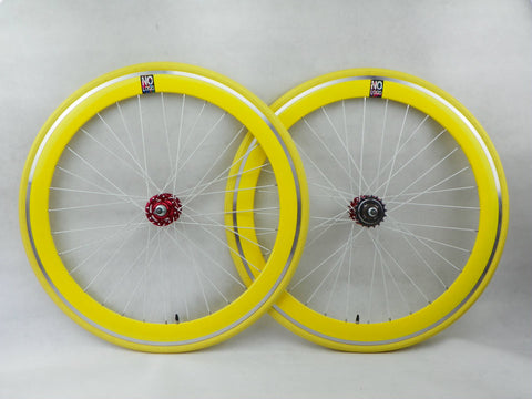 No Logo 50mm 700c Yellow/Red Hubs Track/Fixie Deep V Wheelset - Flip Flop Hubs