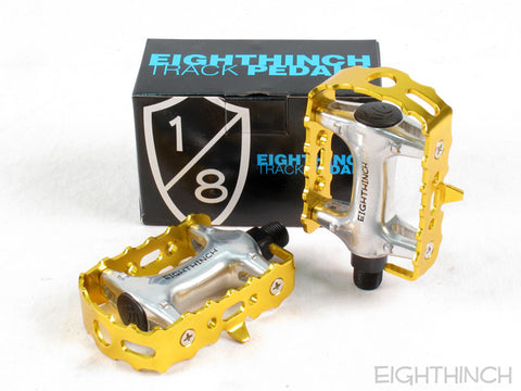 Eighthinch Classic Track Pedals 9/16 Gold Anodized