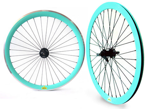 Espresso Coaster Brake Wheelset - Aqua 43mm Deep V Wheels
