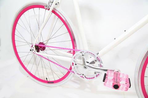 MBA Ice White Neon Single Speed Bike/Fixed Gear Road Bike - Size: 55cm