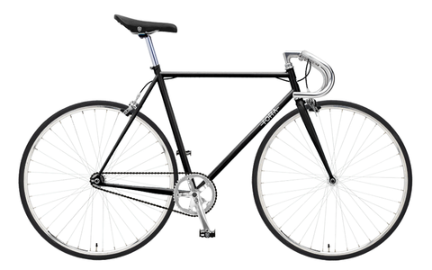 Foffa Black/Silver Fixed Gear Single Speed Bike 2012 - Frame: 55cm - Riser Bars
