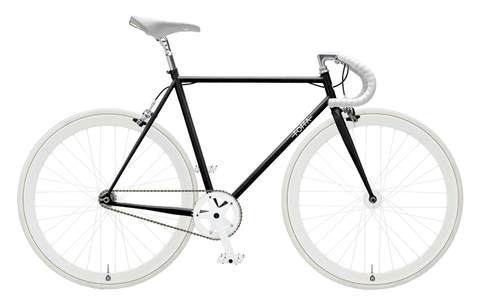 Foffa Black/White Fixed Gear Single Speed Bike 2012 - Frame: 59cm - Riser Bars