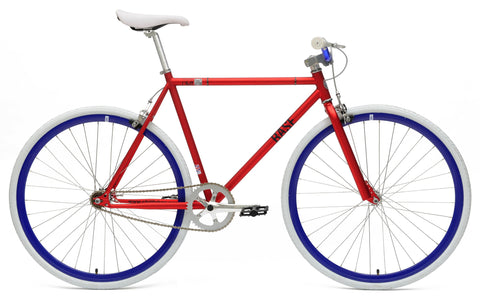 Chill Bikes 2015 Base Red Blue Rim Single Speed Fixie Bike