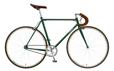 Foffa Green/Brown Fixed Gear Single Speed Bike 2012 - Frame: 59cm - Bullhorn Bars