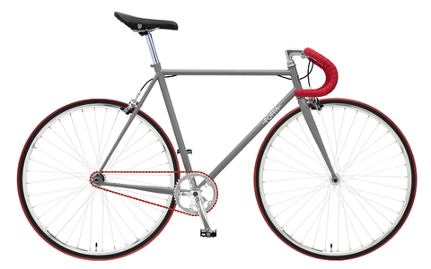 Foffa Grey/Red Fixed Gear Single Speed Bike 2012 - Frame: 59cm - Riser Bars