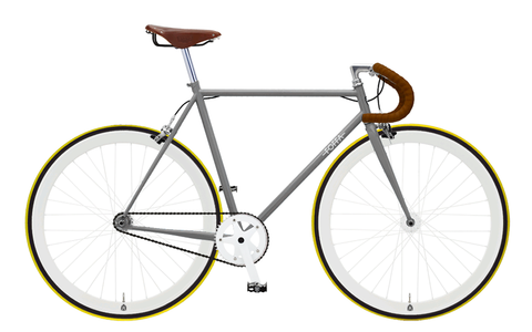Foffa Grey/Yellow Fixed Gear Single Speed Bike 2012 - Frame: 55cm - Riser Bars