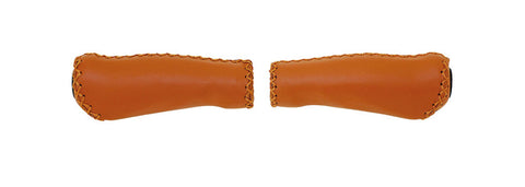 Velo Real Leather Brown Anatomical  Handlebar Grips (Pair)