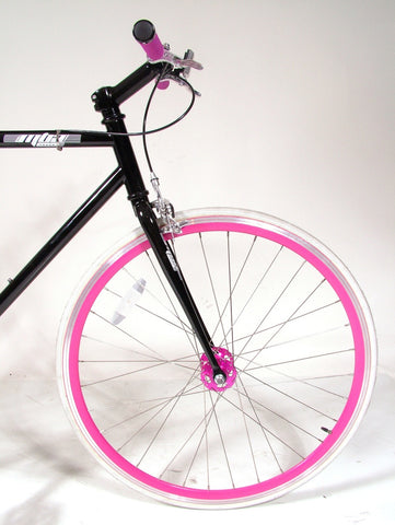 MBA Black/Neon Single Speed Bike/Fixed Gear Road Bike - Size: 55cm