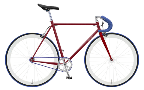 Foffa Red/Blue Fixed Gear Single Speed Bike 2012 Riser Handlebars