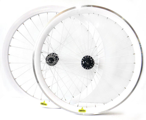 Espresso White Deep V 700c Track Fixie Wheelset Machined
