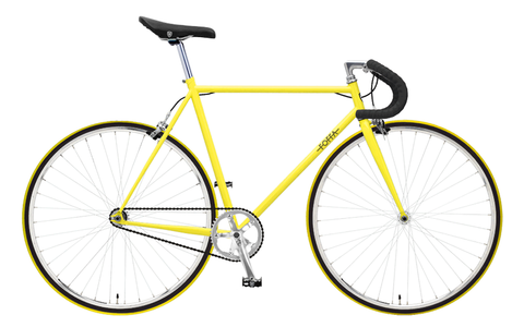 Foffa Yellow Fixed Gear Single Speed Bike 2012 Riser Handlebars