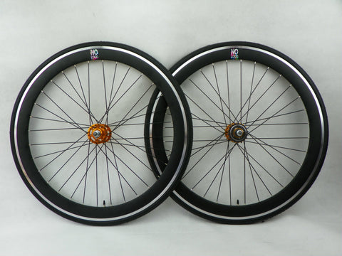 No Logo 50mm 700c ALL Black/Gold Hubs Track/Fixie Deep V Wheelset Tyres & Tubes