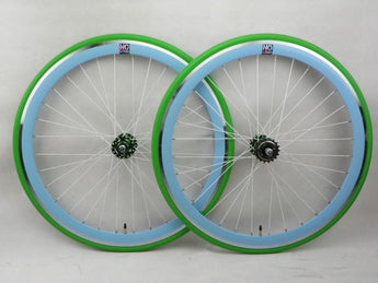 No Logo 40mm 700c Green/Blue Deep V 700c Wheelset (Front & Rear) Machined - Flip Flop Hubs - SOME SCRATCHES