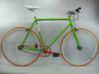 Green/Orange Single Speed Fixed Gear Track Bike - 56cm Frame