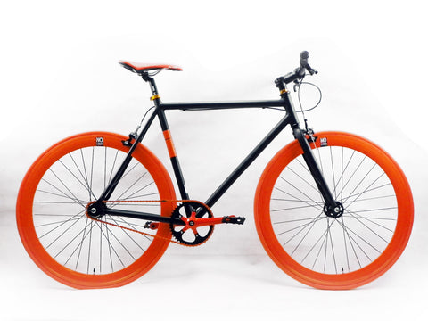 No Logo Black Orange Single Speed Bike