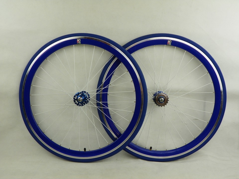 No Logo Blue Track/Fixie Deep V 700c Wheelset (Front & Rear) Machined - Flip Flop Hubs SOME SCRATCHES